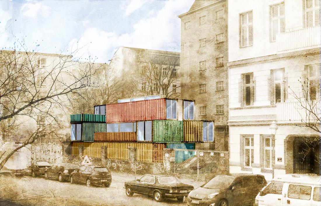 container atelier konzept, cuvrystrasse / berlin 2010 > 2x20ft ... - Container Architektur