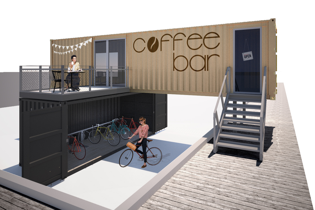 Site Office Coffee Shop With Bicycle Garage Concept